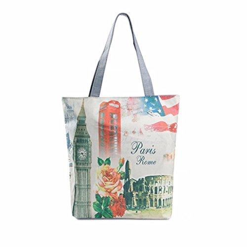 Kolylong London Big Ben Canvas Tote Casual Beach Bags Women Shopping Bag Reusable Bags (A) D