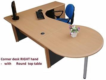 large office desk. Large Office Corner Desk Right Hand With 4 Drawer Pedestal \u0026 Round Computer Top - K