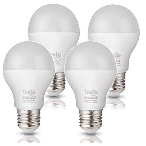 Tento LED 12V E26 Bulbs 10W A19 12-Volt Low Voltage Bulb, Medium Screw Base 60-watt 75w Bulb,Warm White RV Interior Light Camper Marine,Off Grid Solar Light Fixture (60w 75w 4 Pieces Warm White)