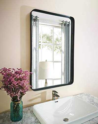 - MIRROR TREND 24 X 36 inch Brushed Metal Framed Mirror for Bathroom Large Rectangle Living Room Mirrors for Wall Decorative Beveled Wall Mirrors for Bedroom (Black)