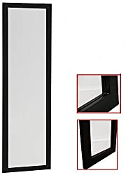 Organize City Black Full Length Wall Mirror, Over the Door Mirror Wall Rectangular with Installation and Instructions Included – 14'' x 48''