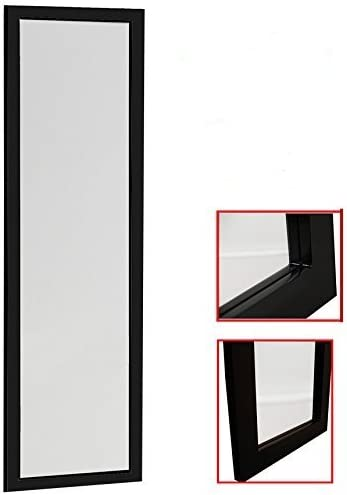 Organize City Black Full Length Wall Mirror, Over The Door Mirror Wall Rectangular with Installation and Instructions Included 14 x 48