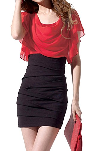Women's Chiffon Dress High Waist Leg Beauty Type (M, Red Black) Bodycon Skirt Chiffon Blouse Decent Clothes fit Inner for Jacket Neat and Tidy Perfectly - Chiffon Romantic