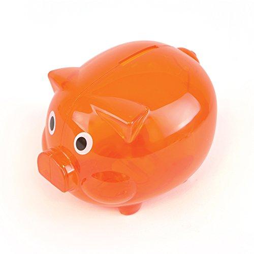 eBuyGB Transparent Plastic Piggy Bank / Money Box (Orange) - Orange Box Furniture