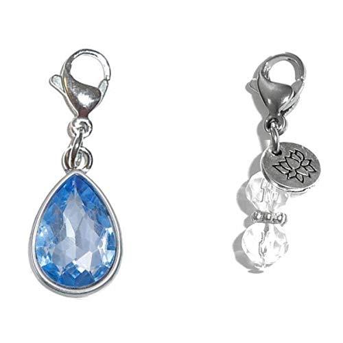 Hidden Hollow Beads Clip On Charm, Bag, Purse, Handbag, Message, Keychain, Zipper Pull, Bracelets, Necklaces, Jewelry (Birthstone March)