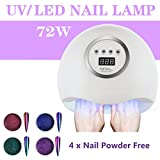 AnnBay Nail Dryer, 72W LED UV Nail Lamp for Gel Nail Polish with Sensor, Removable Base Tray, Professional for Nail Art at Home and Salon, for Fingernail and Toenail Curing