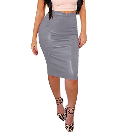 Women Leather Skirt High Waist Slim Party Pencil Skirt - Flannel Skirt Pencil