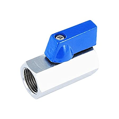 Brass Ball Valve Mini Style Connector with Reduced Bore, Female X Female Thread Fitting, Aluminium Handle and Reduced Headroom Genebre