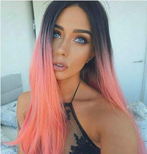 AISI HAIR Synthetic Long Straight Wigs Middle Part Wigs for Women Pastel Pink Wig Ombre Popular Long Natural Wig Two Tone Wigs No Lace Heat Resistant Cheap Wigs