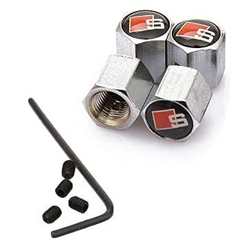 KiGoing 4 PCS Aluminium Auto Pneu Tige Air Caps avec Le Logo S pour Audi Inclure 4PCS Vis Anti-vol 1PCS Tournevis