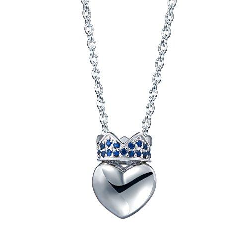 Judith Ripka Sterling Heart (SILVERAGE Sterling Silver Crown Heart Pendant Necklace, Blue Crown)
