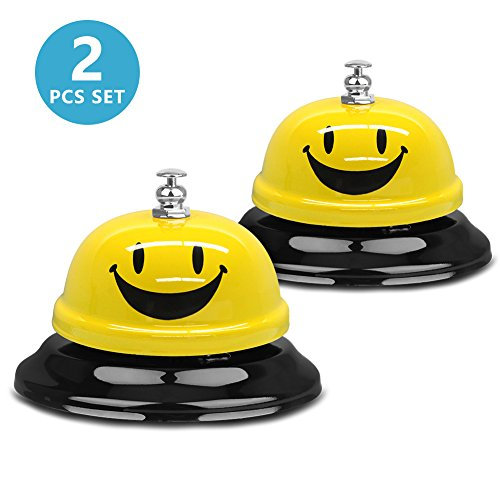 Office Reception Table - Call Bell VAGREEZ Customer Service Bell 3.3 Inch Calling Bell for Hotel Restaurant Classroom Reception Pet Training (Pack of 2)