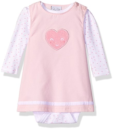 3 Piece Long Sleeve Jumper - Rene Rofe Baby Baby Girls' 2 Piece Corduroy Jumper Set With Lap Shoulder Longsleeve Bodysuit, Pink Heart, 3-6 Months