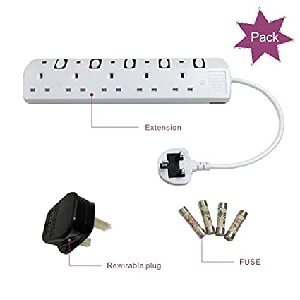 TISDLIP Extension Plug Socket Surge Protected Switches 3 Gang 6.56FT//2M Black