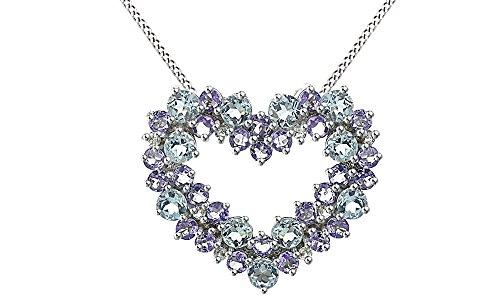 14k Tanzanite Jewelry Set - Jewel Zone US 1/10 Carat Diamond 14k White Gold Over Sterling Silver Aquamarine Tanzanite Cluster Heart Pendant Necklace