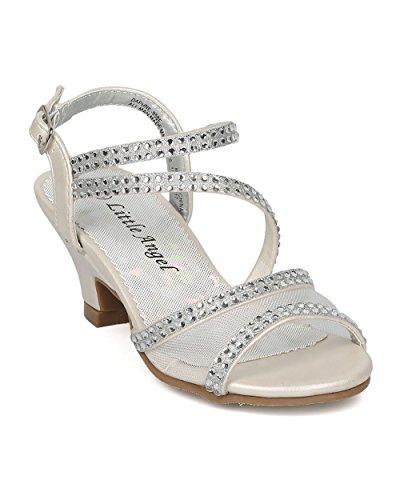 Ivory New Sandals Shoes (Girls Strappy Kiddie Heel Sandal (Toddler/Little/Big Girl) - Rhinestone Kids Dress Heel - Formal Dressy Special Occasion Girls Heel - HC30 by Little Angel - Ivory Leatherette (Size: Little Kid 12))