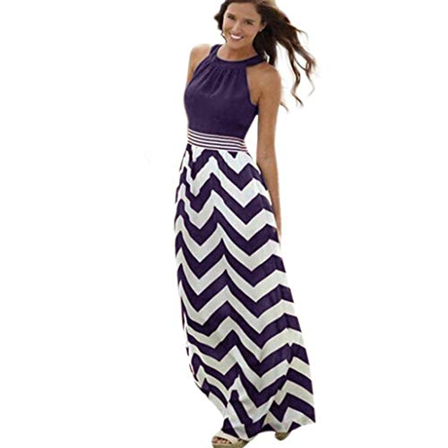 WOCACHI Womens Long Maxi Dress Boho Stripe Evening Party Beach Halter Sleeveless Tank Dresses Sundress 2019 Summer Deals Fashion Ladies Bohemian Ankle Length Vacation Beachwear