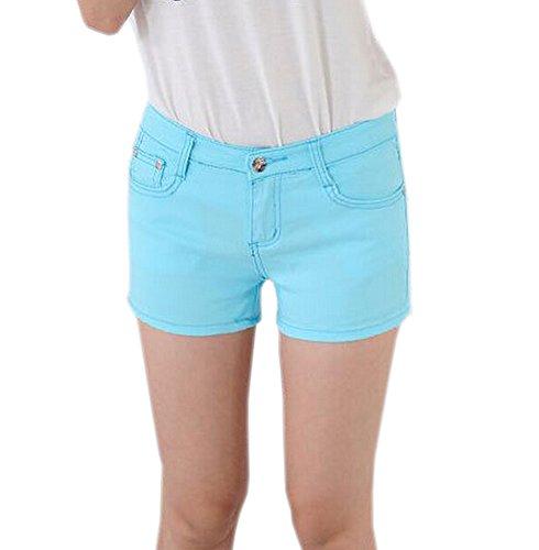 DELEY Mujeres Sólido Estiramiento Hot Pants Juniors flacos Fit Denim Jeans Pantalones Cortos Cielo Azul
