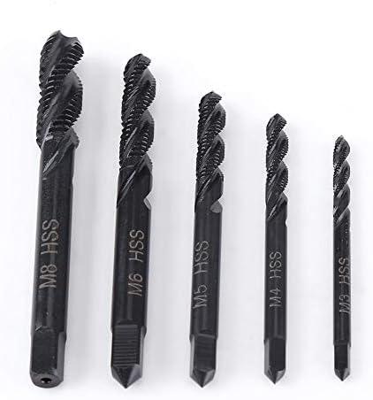 5 Teile/satz Gewindebohrer, Metrisches Gewinde M3-M8 Rechte Spiralnut Nitrieren Beschichtet HSS Gewindebohrer Maschinengewindebohrer, Industrielle Hardware