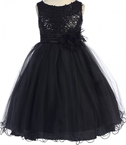 Little Girls Gorgeous Sequined Round Neck Tulle Flower Corsage Pageant Flower Girl Dress Black Black Flower 2 (K30D5)