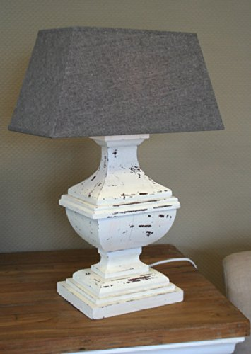 Landhaus Tischlampe Tisch-Lampe Leuchte Tischleuchte Shabby Höhe 57 cm in grau