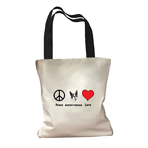 Peace Love Boston Terrier Dog Canvas Colored Handles Tote Bag - (Boston Canvas Bag)