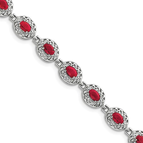 925 Sterling Silver Red Ruby Bracelet 7 Inch Gemstone Fine Jewelry Gifts For Women - Valentines Day Gifts For Her (Swarovski Ice Flower)