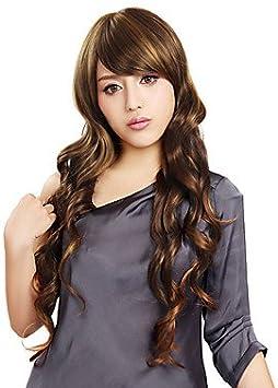 Sin tapa larga sintético de alta calidad marrón ondulado japonés ...