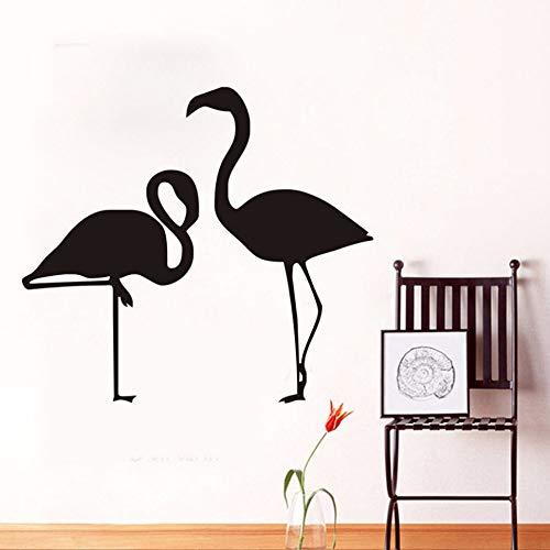 EASTONE Couple Flamingo Birds Silhouette Wall Sticker Home Decor Simple Design Cartoon Animal Removable Vinyl Wall Decal for Living Room 44X39CM ()