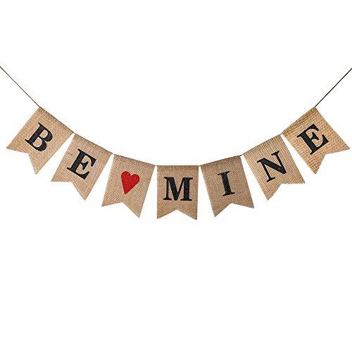 Konsait Be Mine Burlap Banner | Valentine's Day Banner | Be Mine Bunting Garland for Valentine's Day Decorations Wedding Anniversary Engagement Bridal Shower Party Decor Backdrop Supplies