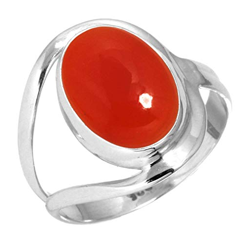 Natural Carnelian Women Jewelry 925 Sterling Silver Ring Size 13