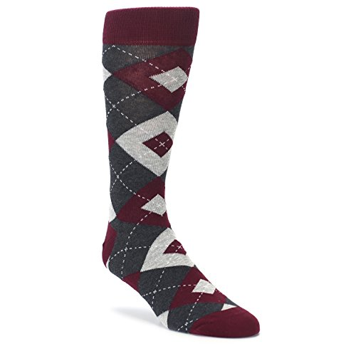 - Statement Sockwear Men's Argyle Groomsmen Wedding Socks (Wine Burgundy Gray)