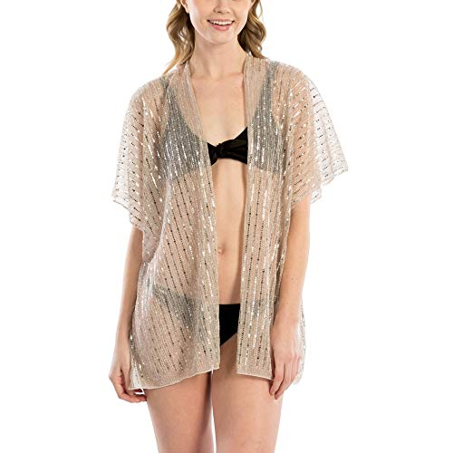 by you Women Summer Beach Metallic Dot and Square Sequin Cover Up Kimono Cardigan Short (Metallic Stripes - Rose Gold) ()