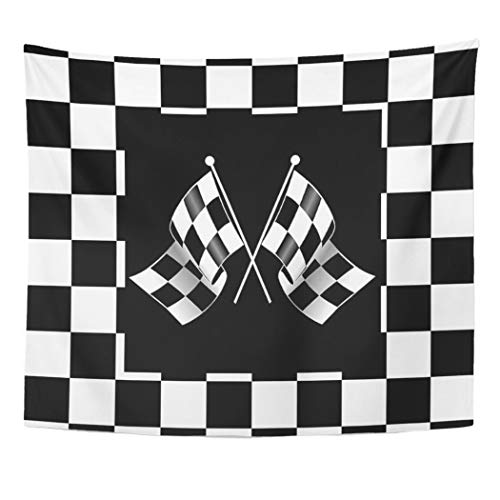 Semtomn Tapestry Artwork Wall Hanging Retro Cool Black White Formula Checkered Pattern Classic Checks 50x60 Inches Home Decor Tapestries Mattress Tablecloth Curtain Print