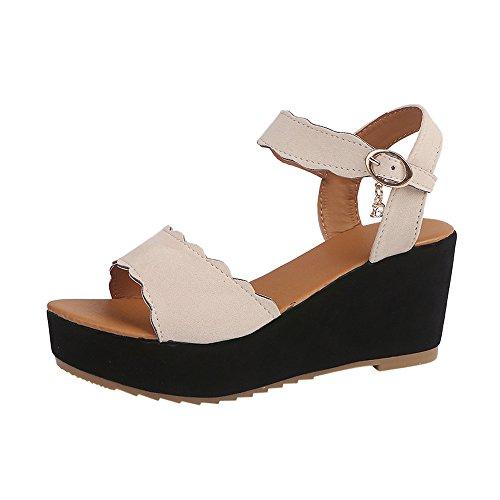 (Women Espadrilles Sandals Hot!! Fish Mouth Platform Wedge Sandal High Heels Sandals Buckle Slope Sandals Non-Slip Shoes Summer (38, Beige))