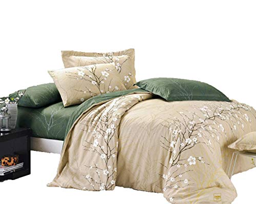 Cherry Blossom Comforter - Swanson Beddings Cherry Blossom 3-Piece 100% Cotton Bedding Set: Duvet Cover and Two Pillow Shams (Queen)