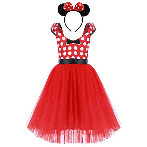 Minnie Cartoon Costume Baby Girl Tutu Dress Mouse Ear Headband Polka Dot First Birthday My 1st Christmas Outfit Halloween Fancy Dress Up Christmas Red with Headband (Backless - Long) 5-6 Years ()