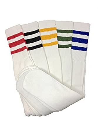 Mens 5 Pair Classic Multi Striped Sports Tube Socks Sock
