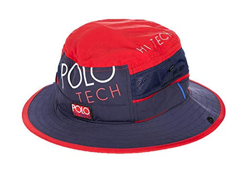 - Polo Ralph Lauren Polo Tech Bucket Cap Hat Blue Red (Large/X-Large)