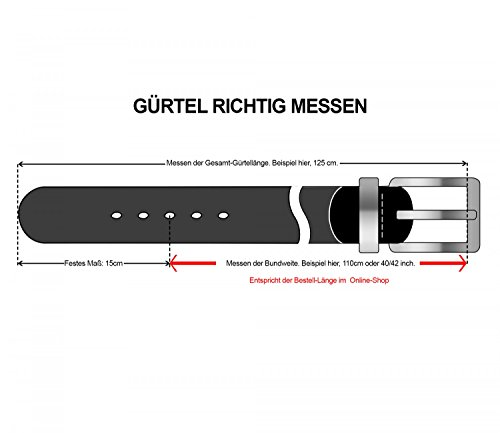 bugatti ceinture en cuir ceinture hommes marron, Länge:110 cm;Farbe:braun