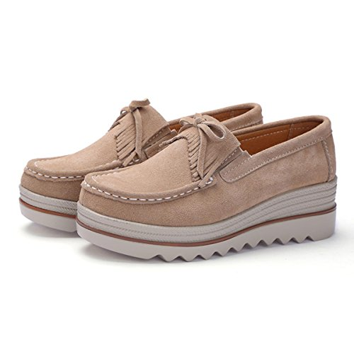 Suede apricot Slip Platform Low On Sneakers Wide for Shoes Wedge Comfort Loafers Women High Tassels Leather Women's Top Girls f0FqBU