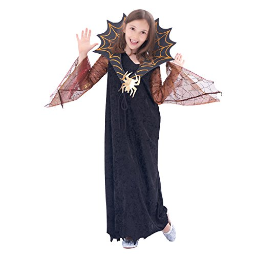 Black Spider Witch, Girls Halloween Costume, Masquerade Party Suits, 2Pcs(velvety dress, collar) (6-8Y)