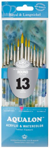 aqualon-royal-and-langnickel-short-handle-paint-brush-set-round-13-piece