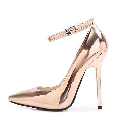 Fereshte Womens Pekte Tå Super Høy Stiletthæler Patent Skinn Ankel Spenne Stropp Pumper Golden