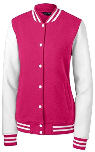 Sport-Tek Women's Fleece Letterman Jacket S Pink Raspberry/ White