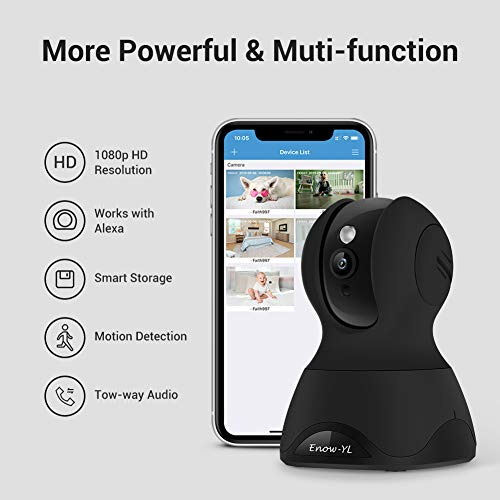 Home Security Camera, Enow-YL Baby Monitor Wireless Pet IP Camera 1080P HD Indoor Wifi Dome Camera with Motion Detection Night Vision 2 Way Audio Cloud Service, Work with Alexa (Black)