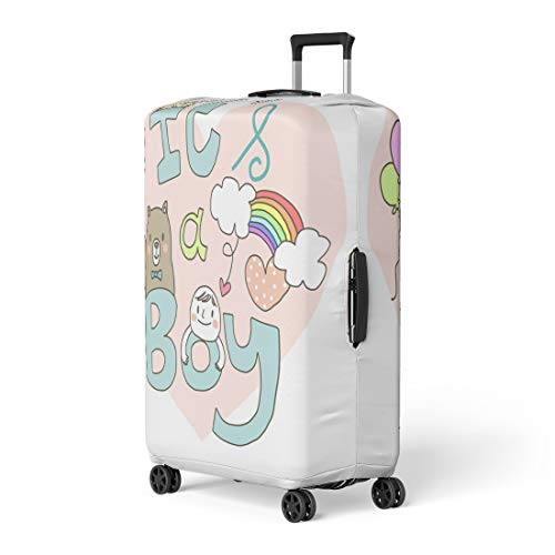 Pinbeam Luggage Cover Baby Announcement Cute Boy and Teddy Bear Holding Travel Suitcase Cover Protector Baggage Case Fits 18-22 -