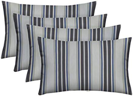 RSH D cor Set of 4 Indoor Outdoor Lumbar Rectangular Throw Pillows 12 x20 Black, Gray, Blue Stripe