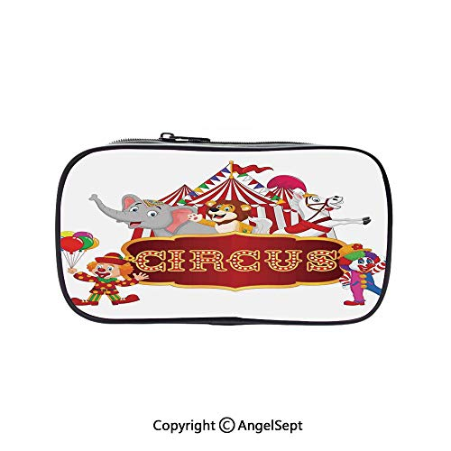 Bag Pen Case Felt Students Stationery Pouch Zipper Bag,Cute Happy Fun Trained Circus Animals with Nostalgic Tent Carnival Party Show Art Red White 5.1inches,for Pens,Pencils,and Other School Supplies