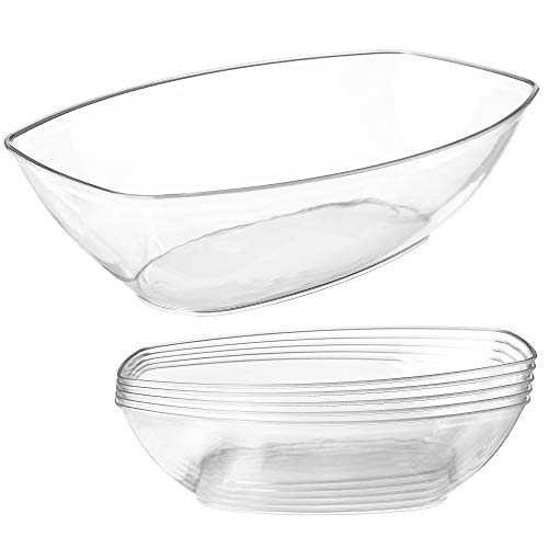 Clear Plastic Serving Bowls for Parties | 64 Oz. 5 Pack | Oval Disposable Serving Bowls | Clear Chip Bowls | Party Snack Bowls | Plastic Candy Dish | Salad Serving Containers | Large Candy Bowls ()